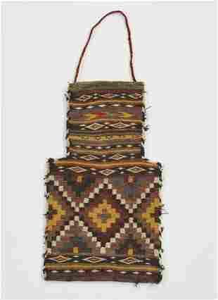 Hand woven wool Afghan kilim salt bag