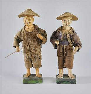(2) Japanese farmer okimono figures, Taisho Period