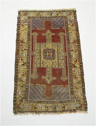 Hand knotted wool Turkish double mihrab prayer rug