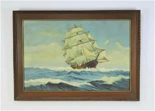"Maritime O/c of a clipper ship at sea, signed, 42""w"