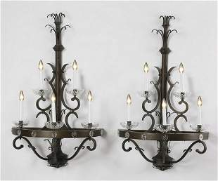 """(2) Wrought iron 5-light wall sconces, 46""""h"""