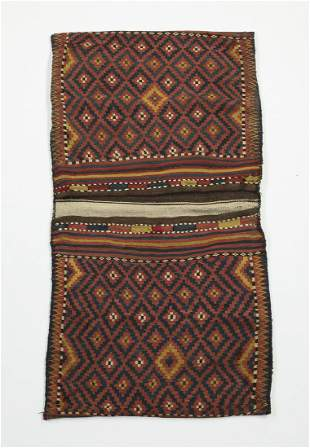 Hand woven wool Turkmen double saddle bag