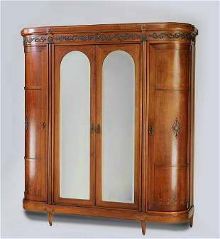 Early 20th c. Italian marquetry inlaid armoire