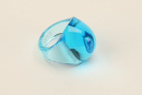 5: French art glass ring, signed Lalique