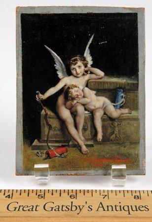12: 19th c. miniature oil on panel, signed E. Barbarini