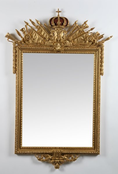35: Carved and gilt beveled glass mirror