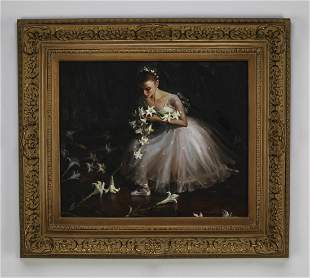Contemporary O/c of a curtsying ballerina, signed