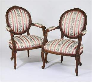 (2) Early 20th c. Louis XV style fauteuils