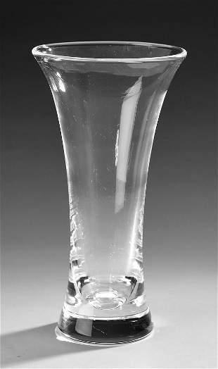 Steuben crystal trumpet vase, by Donald Pollard