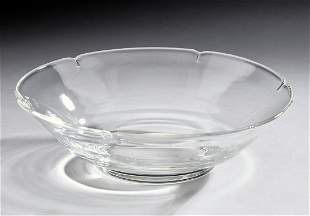 Steuben crystal floral low bowl by Donald Pollard
