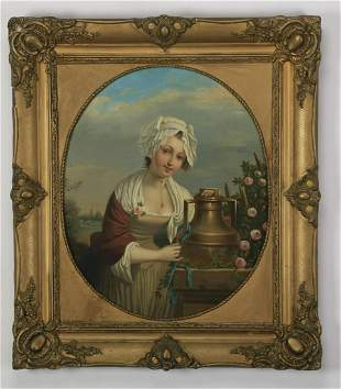 19th c. Continental O/c portrait of a maiden