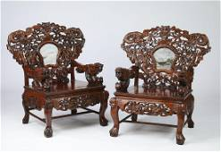 (2) Chinese carved hardwood dragon throne chairs