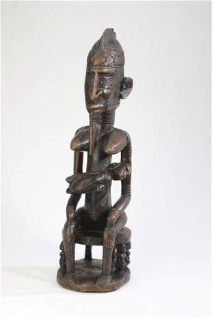Chokwe hand carved wooden maternity figure