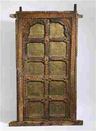 Diminutive Moroccan door panel in wood and copper