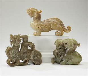 (3) Chinese carved jade Ming style dragons