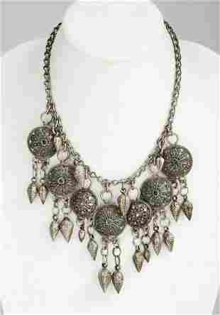 Mid-20th c. Central Asia silver necklace