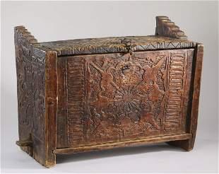 "Relief carved casket in the medieval taste, 25""w"