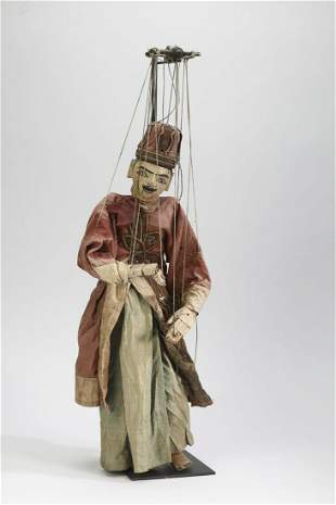 """Burmese carved wood marionette w/stand, 28""""h"""