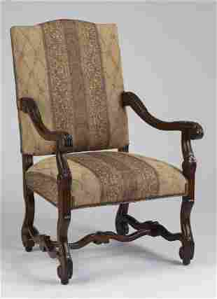 Charles X style carved mahogany armchair