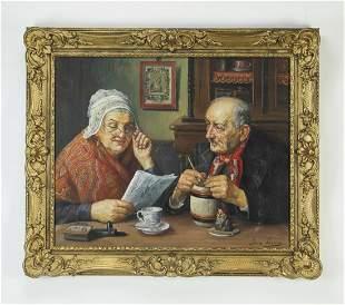 Signed Jean Laenen O/c portrait of an elderly couple