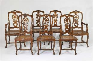 (7) French Provincial walnut dining chairs