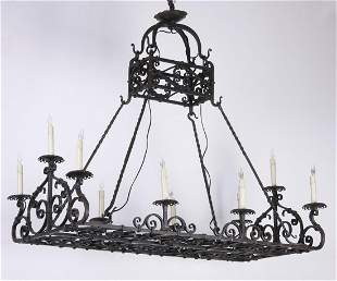 Finely handcrafted custom wrought iron chandelier