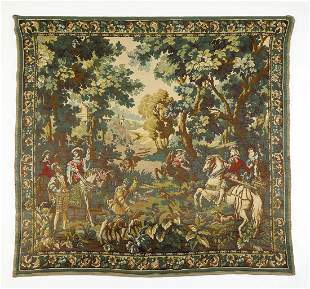 Early 20th c. Continental cotton and wool tapestry