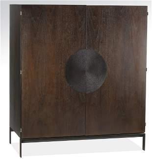 "Contemporary dark walnut veneer cabinet, 54""h"