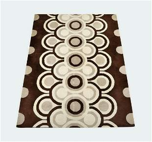 Contemporary wool rug in chocolate and taupe, 11 x 8