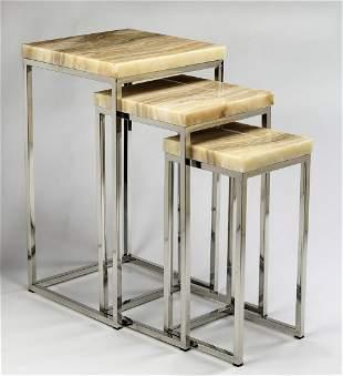 Set of (3) contemporary onyx & chrome nesting tables