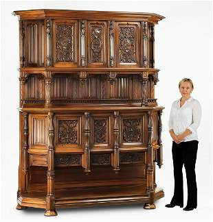 Monumental 19th c. French Gothic Revival buffet