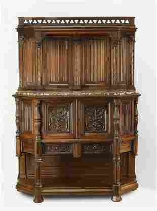 19th c. French Gothic Revival marble top buffet