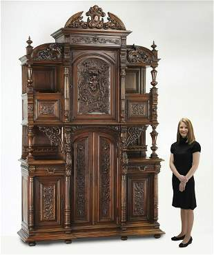 Monumental 19th c. French carved walnut buffet
