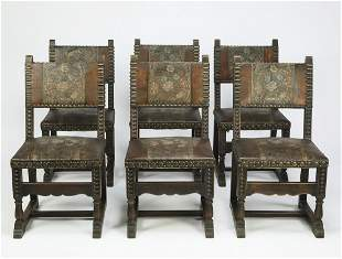 Set of (6) 19th c. tooled leather chairs