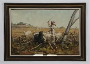 A. Karafyllakis signed O/c peasant girl tending sheep