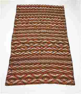 Early 20th c. hand woven Uzbek kilim, 11 x 7