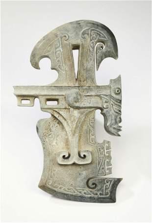 "Chinese hardstone ritual axe head, 9""h"