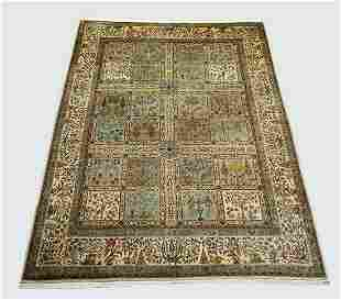 Hand knotted Indo-Persian panel garden carpet 16 x 12