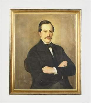 Signed American School portrait of a gentleman, 1852
