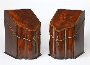 Pair of mahogany George III knife boxes