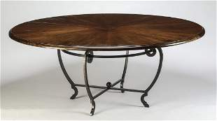 """Rustic walnut and wrought iron table, 72""""dia"""