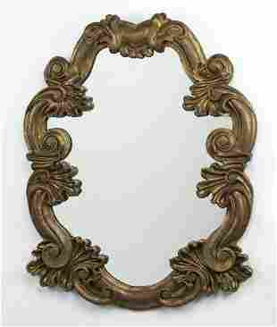 Rococo style antiqued gold wall mirror