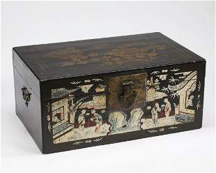 """Chinese lacquered box, 29""""l"""