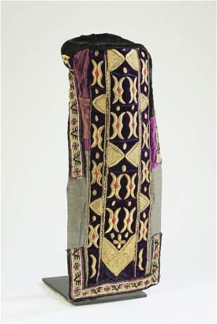 19th c. Bukhara embroidered velvet bridal hat