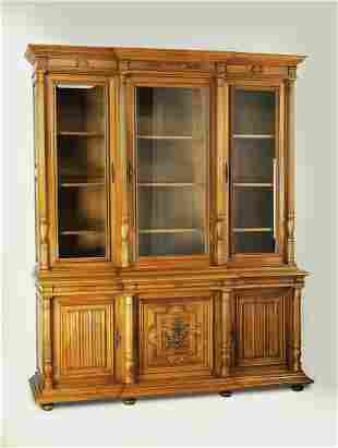 """Monumental 19th c. carved walnut bookcase, 97""""h"""
