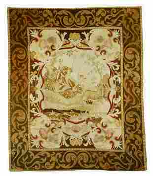 """19th c. French hand woven wool tapestry, 104""""h"""