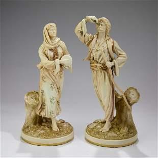 "(2) 19th c. Royal Worcester Orientalist figures, 14""h"