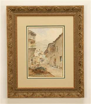 19th c. French watercolor, signed and dated