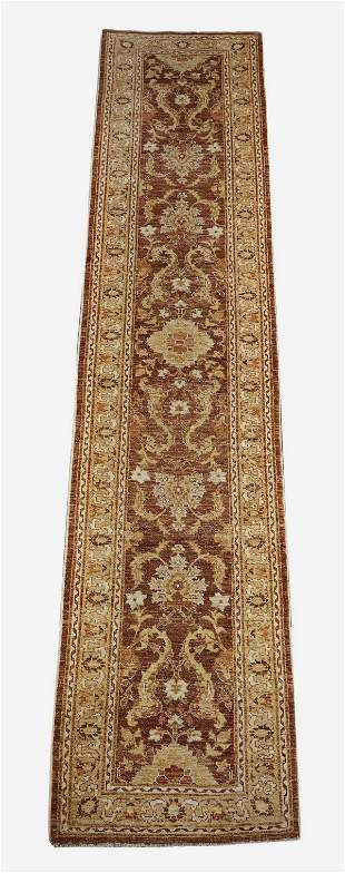 Hand knotted wool Indo-Oushak runner, 13 x 3