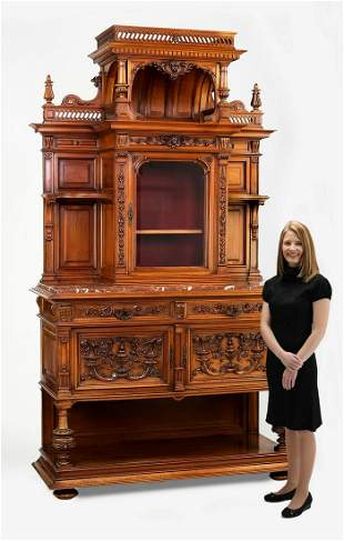 Late 19th c. French carved walnut marble top buffet